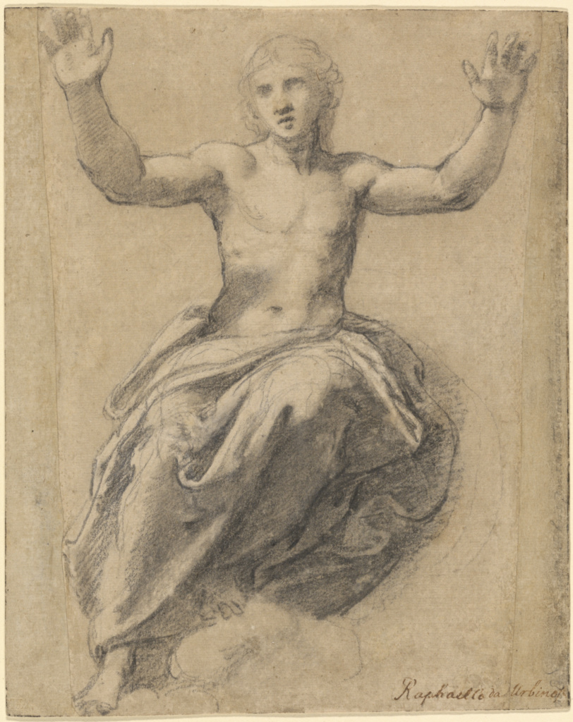 Christ in Glory; Raphael (Raffaello Sanzio) (Italian, 1483 - 1520); about 1519–1520; Black chalk, brush with gray wash, heightened with white chalk on pale gray prepared paper; 22.5 × 17.9 cm (8 7/8 × 7 1/16 in.); 82.GG.139; Rights Statement: No Copyright - United States
