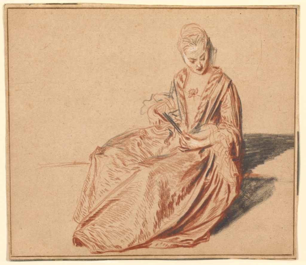 Seated Woman with a Fan; Jean-Antoine Watteau (French, 1684 - 1721); about 1717; Red, black, and white chalk on light brown paper; 19.2 × 21.4 cm (7 9/16 × 8 7/16 in.); 82.GB.164; The J. Paul Getty Museum, Los Angeles; Rights Statement: No Copyright - United States