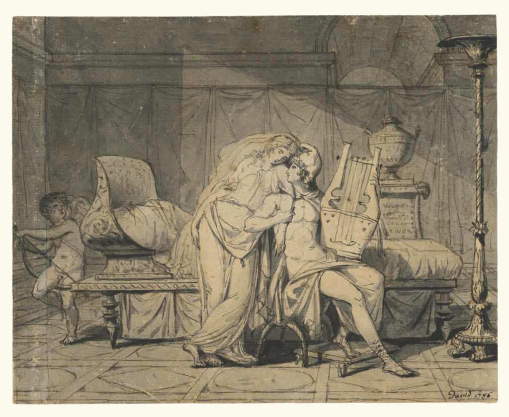 Paris and Helen; Jacques-Louis David (French, 1748 - 1825); 1786; Pen and black ink and brush and gray wash; 18.3 × 22.9 cm (7 3/16 × 9 in.); 83.GA.192; The J. Paul Getty Museum, Los Angeles; Rights Statement: No Copyright - United States