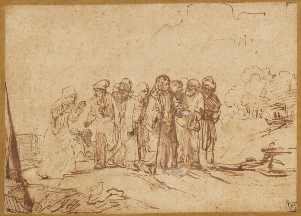 Christ and the Canaanite Woman; Unknown maker, Rembrandt Pupil, active 1650s; about 1650; Pen and brown ink, brown wash, corrected with white gouache; 20 × 27.9 cm (7 7/8 × 11 in.); 83.GG.199; The J. Paul Getty Museum, Los Angeles; Rights Statement: No Copyright - United States