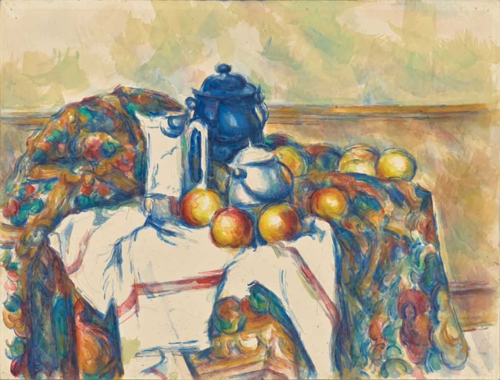 Still Life with Blue Pot; Paul Cézanne (French, 1839 - 1906); France; about 1900–1906; Watercolor over graphite; 48.1 × 63.2 cm (18 15/16 × 24 7/8 in.); 83.GC.221; The J. Paul Getty Museum, Los Angeles; Rights Statement: No Copyright - United States