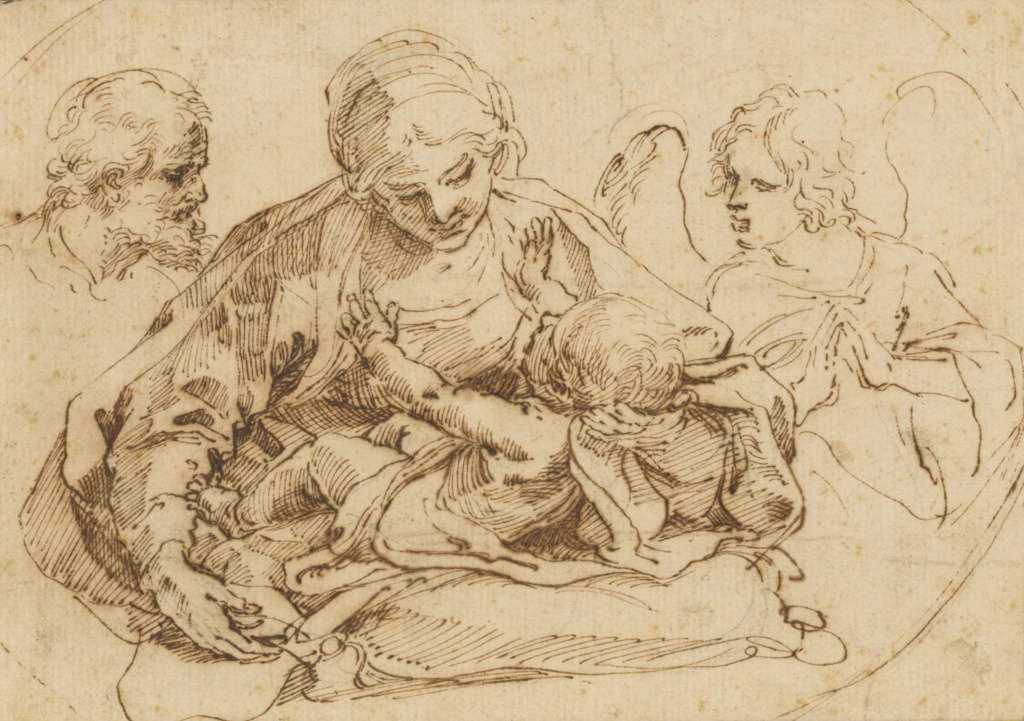 Holy Family with an Angel; Guido Reni (Italian, 1575 - 1642); mid–late 1590s; Pen and brown ink; 14.1 × 20 cm (5 9/16 × 7 7/8 in.); 83.GA.267; The J. Paul Getty Museum, Los Angeles; Rights Statement: No Copyright - United States