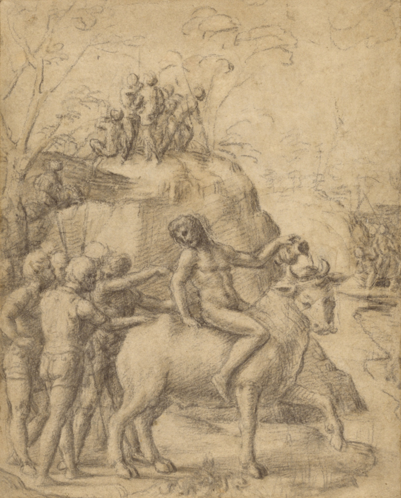 A Man Riding a Bull, and Other Figures; Correggio (Antonio Allegri) (Italian, about 1489 - 1534); about 1517–1519; Black chalk with pale brown wash; 21.9 × 17.6 cm (8 5/8 × 6 15/16 in.); 83.GB.344; The J. Paul Getty Museum, Los Angeles; Rights Statement: No Copyright - United States
