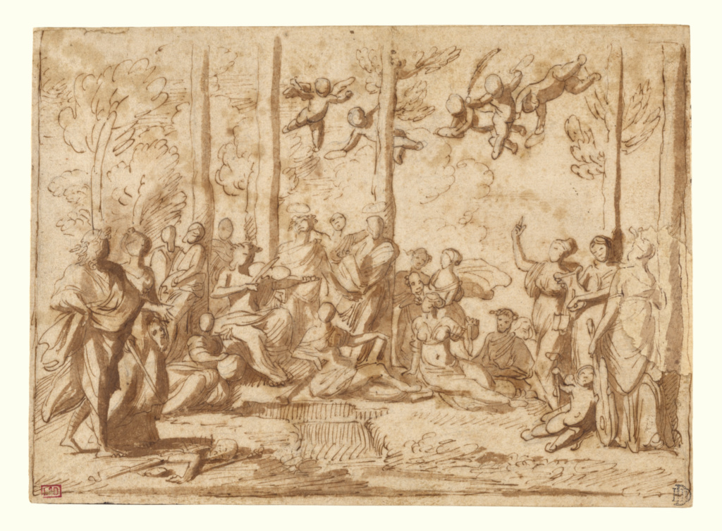 Apollo and the Muses on Mount Parnassus; Nicolas Poussin (French, 1594 - 1665); France; about 1626–1628 or 1631; Pen and brown ink, brush with brown wash; small, irregular section at right margin added; 17.6 × 24.6 cm (6 15/16 × 9 11/16 in.); 83.GG.345; The J. Paul Getty Museum, Los Angeles; Rights Statement: No Copyright - United States