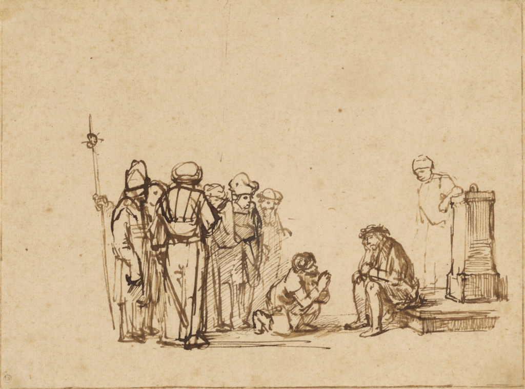 The Mocking of Christ; Unknown maker, Rembrandt Pupil, active 1650s; about 1650–1655; Pen and brown ink; 18.1 × 24.6 cm (7 1/8 × 9 11/16 in.); 83.GA.358; The J. Paul Getty Museum, Los Angeles; Rights Statement: No Copyright - United States