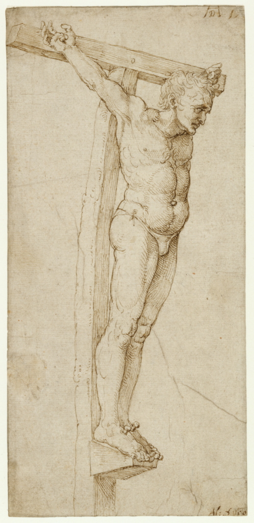 Study of the Good Thief; Albrecht Dürer (German, 1471 - 1528); about 1503–1505; Pen and brown ink; 26.8 × 12.7 cm (10 9/16 × 5 in.); 83.GA.360; The J. Paul Getty Museum, Los Angeles; Rights Statement: No Copyright - United States