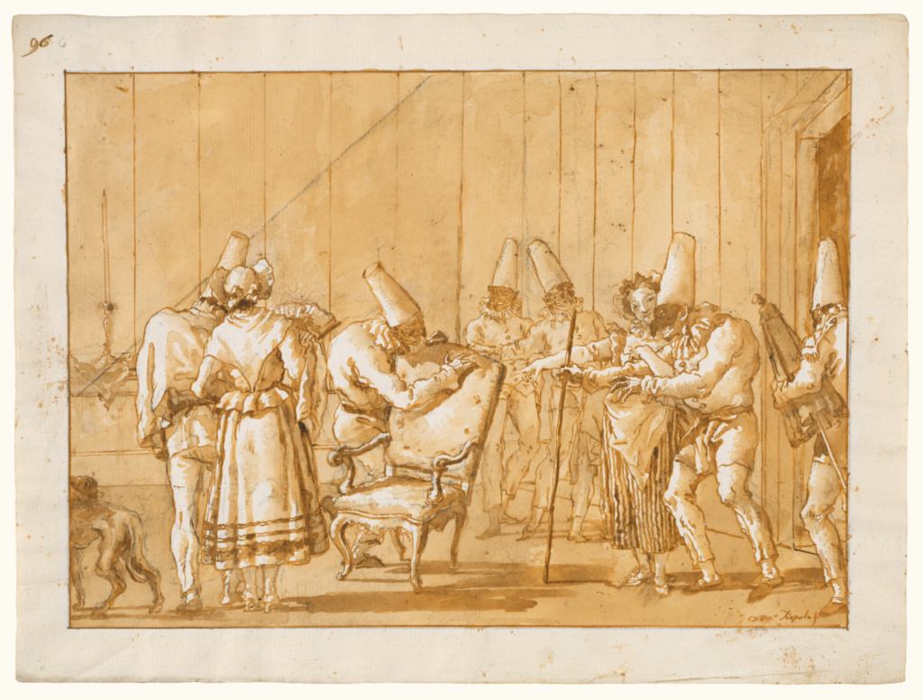 Punchinello is Helped to a Chair; Giovanni Domenico Tiepolo (Italian, 1727 - 1804); Italy; about 1791; Pen and brown ink, brush with brown wash, and black chalk; 35.4 × 47 cm (13 15/16 × 18 1/2 in.); 84.GG.10; The J. Paul Getty Museum, Los Angeles; Rights Statement: No Copyright - United States