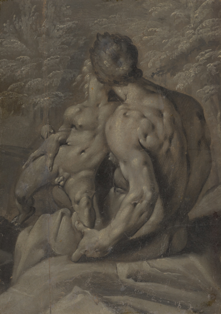 Two Male Nudes; Cornelis Cornelisz van Haarlem (Dutch, 1562 - 1638); about 1590; Oil on paper grisaille; 27.1 × 19.2 cm (10 11/16 × 7 9/16 in.); 84.GG.32; The J. Paul Getty Museum, Los Angeles; Rights Statement: No Copyright - United States