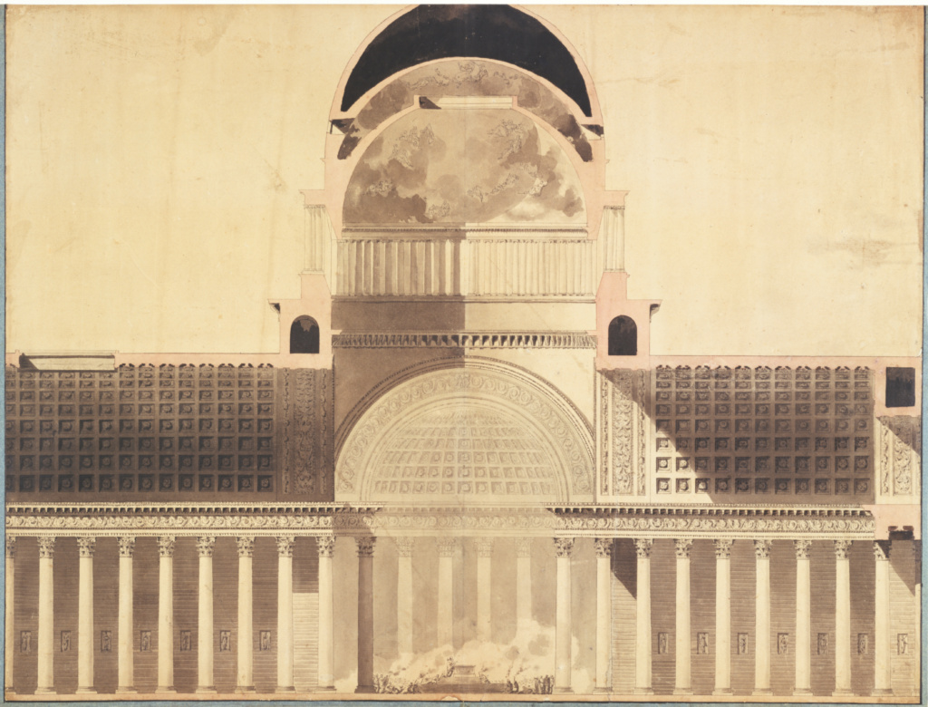 Architectural Project for the Church of the Madeleine; Etienne-Louis Boullée (French, 1728 - 1799); 1777–1785; Pen and gray ink and black, pink, and gray washes; 54.3 × 71.4 cm (21 3/8 × 28 1/8 in.); 84.GA.53; Rights Statement: No Copyright - United States