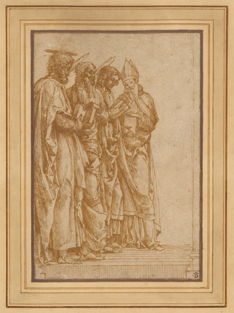 Study of Four Saints (Peter, Paul, John the Evangelist, and Zeno); Andrea Mantegna (Italian, about 1431 - 1506); Italy; 1456–1459; Pen and brown ink, traces of red chalk; 19.5 × 13.1 cm (7 11/16 × 5 3/16 in.); 84.GG.91; The J. Paul Getty Museum, Los Angeles; Rights Statement: No Copyright - United States