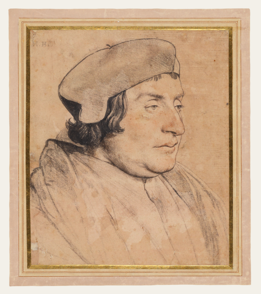 Portrait of a Scholar or Cleric; Hans Holbein the Younger (German, 1497/1498 - 1543); 1532–1535; Black and red chalk, pen and brush and black ink on pink prepared paper; 21.9 × 18.4 cm (8 5/8 × 7 1/4 in.); 84.GG.93; The J. Paul Getty Museum, Los Angeles; Rights Statement: No Copyright - United States