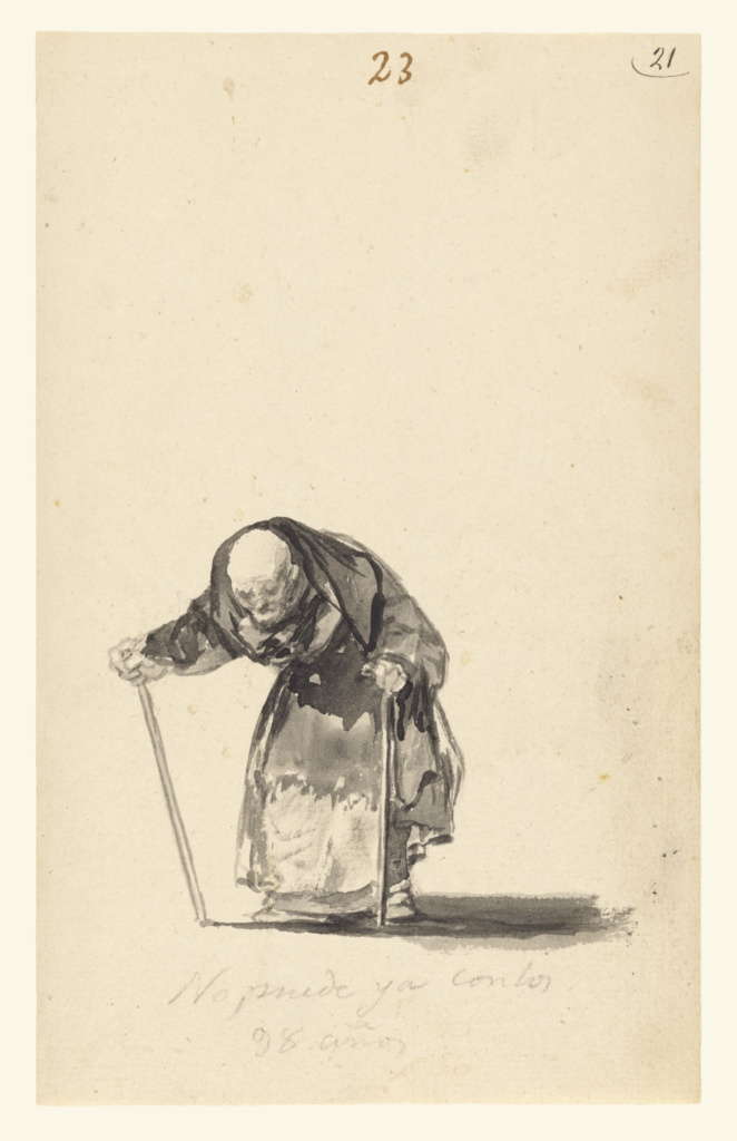 He Can No Longer at the Age of Ninety-Eight; Francisco José de Goya y Lucientes (Francisco de Goya) (Spanish, 1746 - 1828); Spain; about 1819–1823; Brush and India ink; 23.3 × 14.4 cm (9 3/16 × 5 11/16 in.); 84.GA.646; The J. Paul Getty Museum, Los Angeles; Rights Statement: No Copyright - United States
