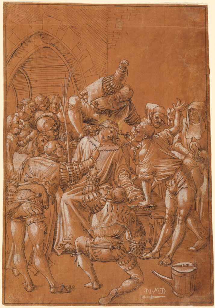 The Mocking of Christ; Niklaus Manuel Deutsch (Swiss, 1484 - 1530); about 1513–1514; Pen and black ink with white and gold highlights on red brown prepared paper; 31.1 × 21.6 cm (12 1/4 × 8 1/2 in.); 84.GG.663; The J. Paul Getty Museum, Los Angeles; Rights Statement: No Copyright - United States