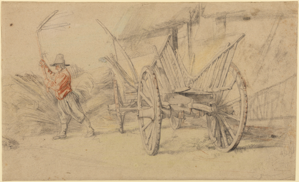 A Man Threshing Beside a Wagon, Farm Buildings Behind; Peter Paul Rubens (Flemish, 1577 - 1640); 1615–1617; Red, black, blue, green, and yellow chalk, with touches of pen and brown ink, on pale gray paper; 25.4 × 41.4 cm (10 × 16 5/16 in.); 84.GG.693; The J. Paul Getty Museum, Los Angeles; Rights Statement: No Copyright - United States