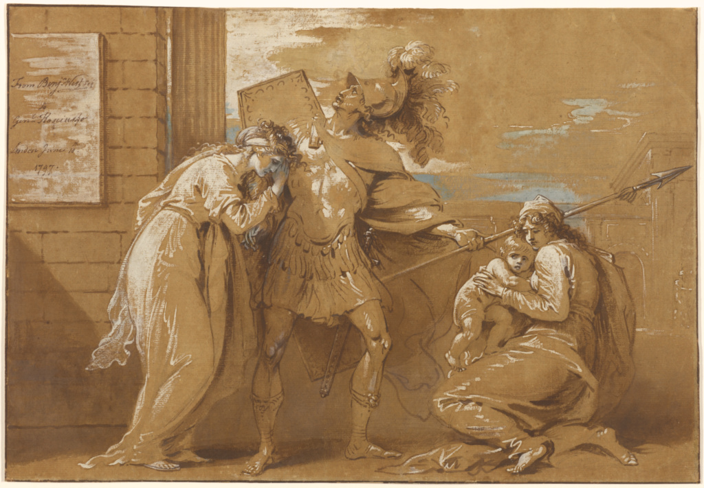 The Fright of Astyanax (Hector Bidding Farewell to Andromache); Benjamin West (American, 1738 - 1820); Great Britain; 1797; Pen and brown ink, brown wash, and blue and white gouache on brown prepared paper; 31.8 × 46 cm (12 1/2 × 18 1/8 in.); 84.GG.722; The J. Paul Getty Museum, Los Angeles; Rights Statement: No Copyright - United States