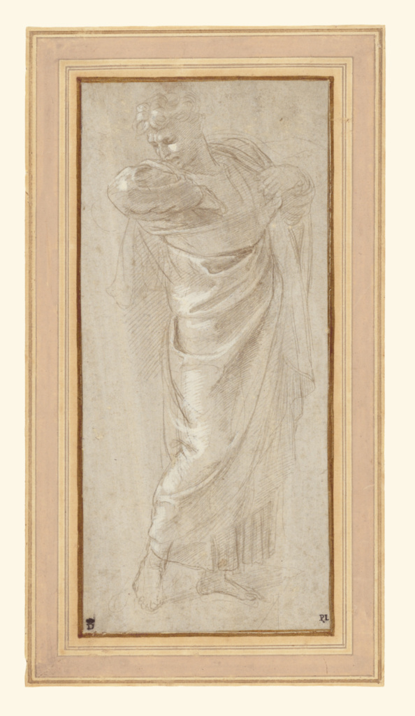 Saint Paul Rending His Garments; Raphael (Raffaello Sanzio) (Italian, 1483 - 1520); about 1515–1516; Metalpoint, heightened with white gouache, on lilac-gray prepared paper; 23 × 10.3 cm (9 1/16 × 4 1/16 in.); 84.GG.919; The J. Paul Getty Museum, Los Angeles; Rights Statement: No Copyright - United States