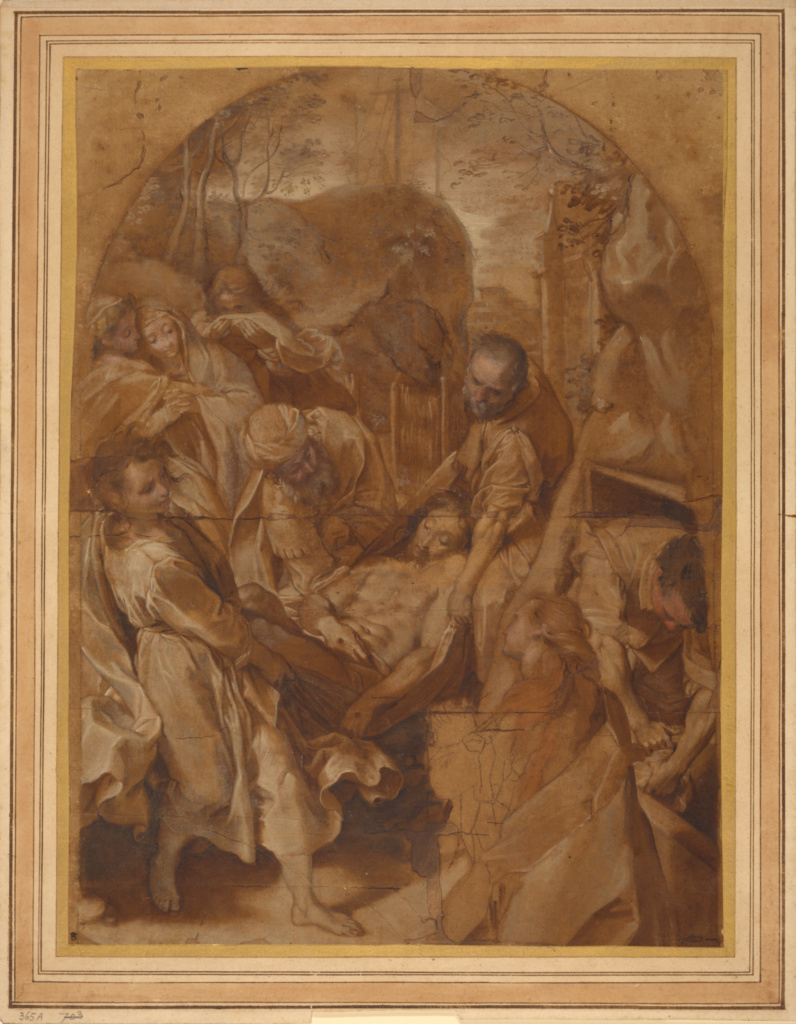 The Entombment; Federico Barocci (Italian, about 1535 - 1612); about 1579–1582; Black chalk and oil paint on oiled paper; 47.8 × 35.6 cm (18 13/16 × 14 in.); 85.GG.26; Rights Statement: No Copyright - United States