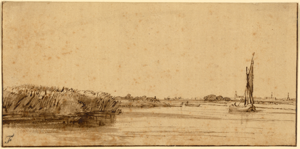 A Sailing Boat on a Wide Expanse of Water; Rembrandt Harmensz. van Rijn (Dutch, 1606 - 1669); about 1650; Pen and brown ink and brown wash on tinted paper; 8.9 × 18.3 cm (3 1/2 × 7 3/16 in.); 85.GA.94; The J. Paul Getty Museum, Los Angeles; Rights Statement: No Copyright - United States