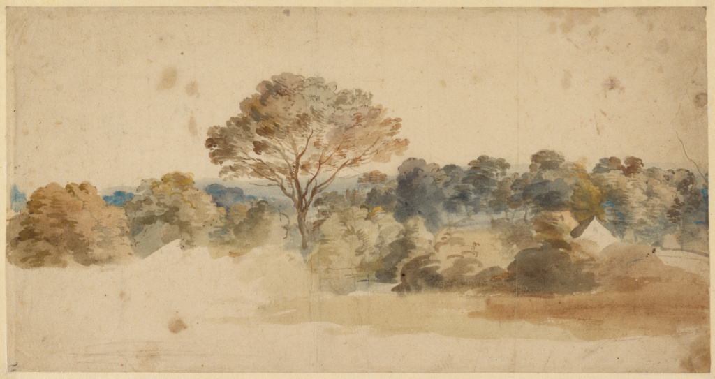 Landscape; Anthony van Dyck (Flemish, 1599 - 1641); about 1640; Pen and brown ink and watercolor; 18.9 × 36.4 cm (7 7/16 × 14 5/16 in.); 85.GG.96; Rights Statement: No Copyright - United States