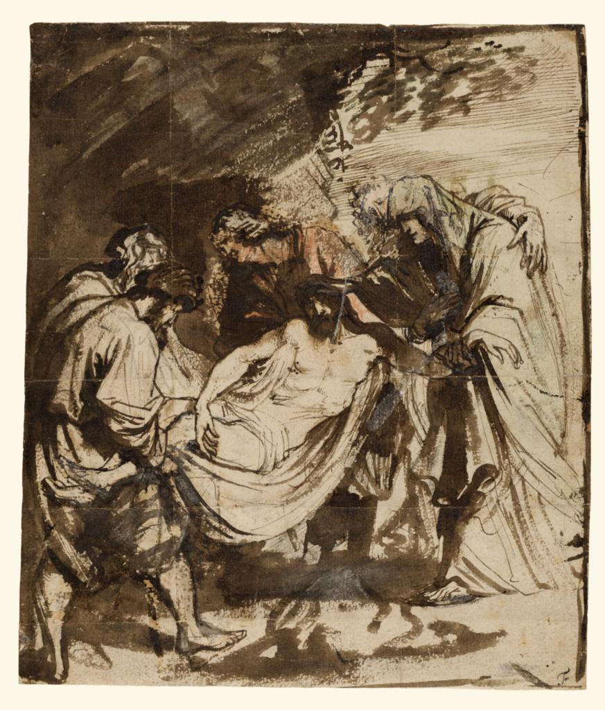 The Entombment (recto); Partial Study of the Entombment (verso); Anthony van Dyck (Flemish, 1599 - 1641); 1617–1618; Black chalk, pen and brown ink, brown and reddish wash, red and blue chalk, and white gouache heightening; 25.4 × 21.9 cm (10 × 8 5/8 in.); 85.GG.97; Rights Statement: No Copyright - United States