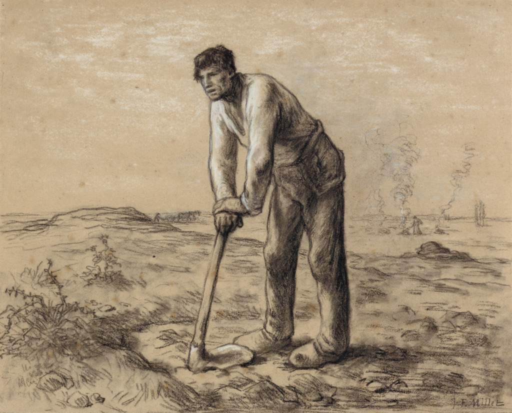 Man with a Hoe; Jean-François Millet (French, 1814 - 1875); about 1860–1862; Black chalk and white chalk heightening on buff paper; 28.1 × 34.9 cm (11 1/16 × 13 3/4 in.); 85.GB.115; The J. Paul Getty Museum, Los Angeles; Rights Statement: No Copyright - United States
