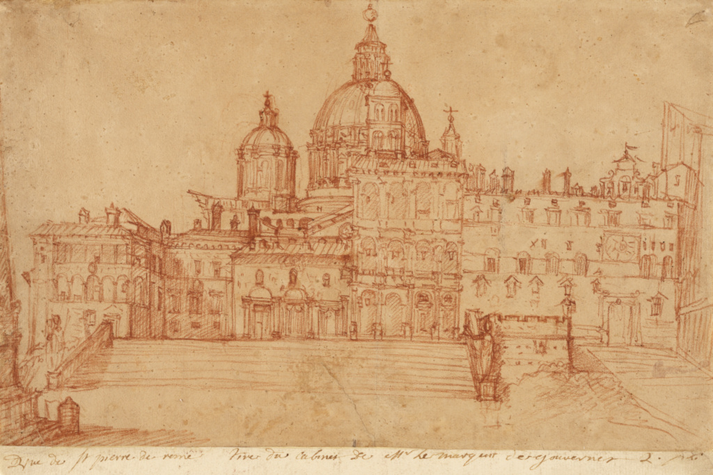 View of Saint Peter's (recto); Study of a Young Man (verso); Federico Zuccaro (Italian, about 1541 - 1609); Italy; 1603; Red chalk (recto); Red and black chalk (verso); 25.9 × 41.3 cm (10 3/16 × 16 1/4 in.); 85.GB.228; The J. Paul Getty Museum, Los Angeles; Rights Statement: No Copyright - United States