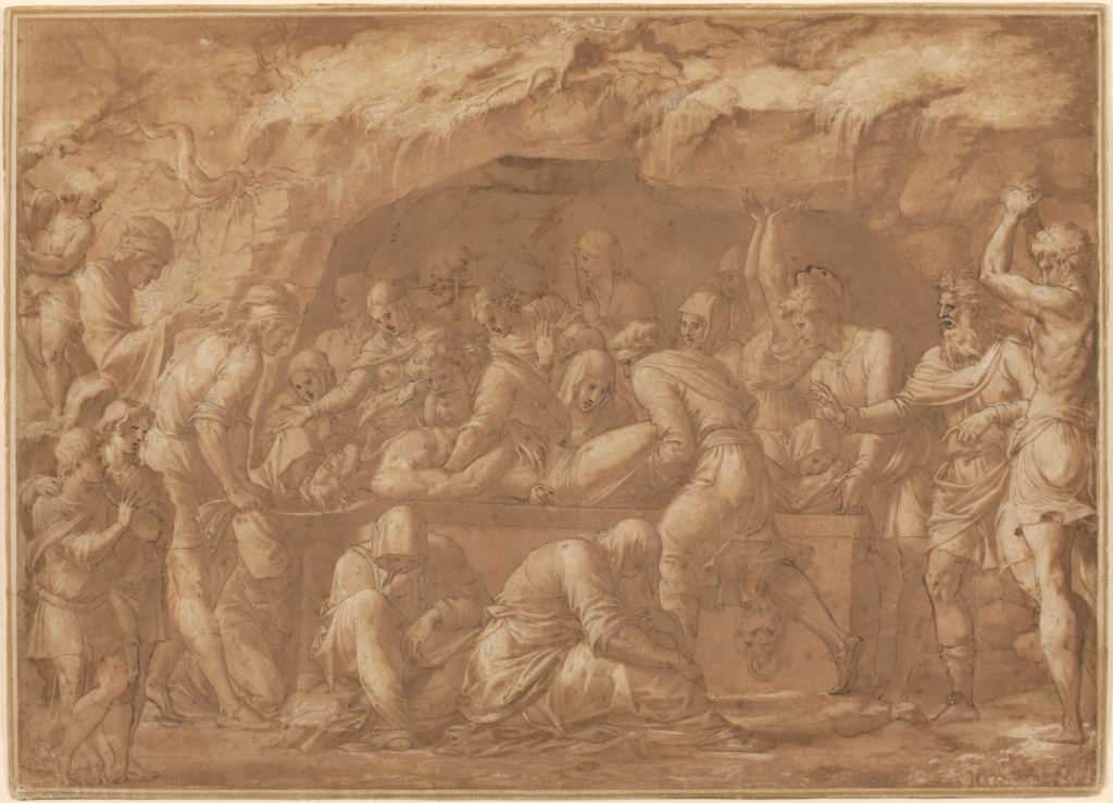 The Entombment; Luca Penni (Italian, 1500/1504 - 1556); about 1550; Black chalk, pen and brown ink, brush with brown wash, heightened with white gouache; 43 × 60 cm (16 15/16 × 23 5/8 in.); 85.GG.235; The J. Paul Getty Museum, Los Angeles; Rights Statement: No Copyright - United States
