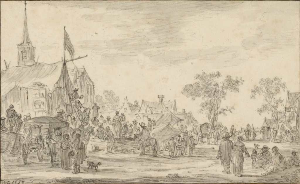 A Village Festival with Musicians Playing Outside a Tent; Jan van Goyen (Dutch, 1596 - 1656); 1653; Black chalk and gray wash; 17 × 27.7 cm (6 11/16 × 10 7/8 in.); 85.GG.296; The J. Paul Getty Museum, Los Angeles; Rights Statement: No Copyright - United States