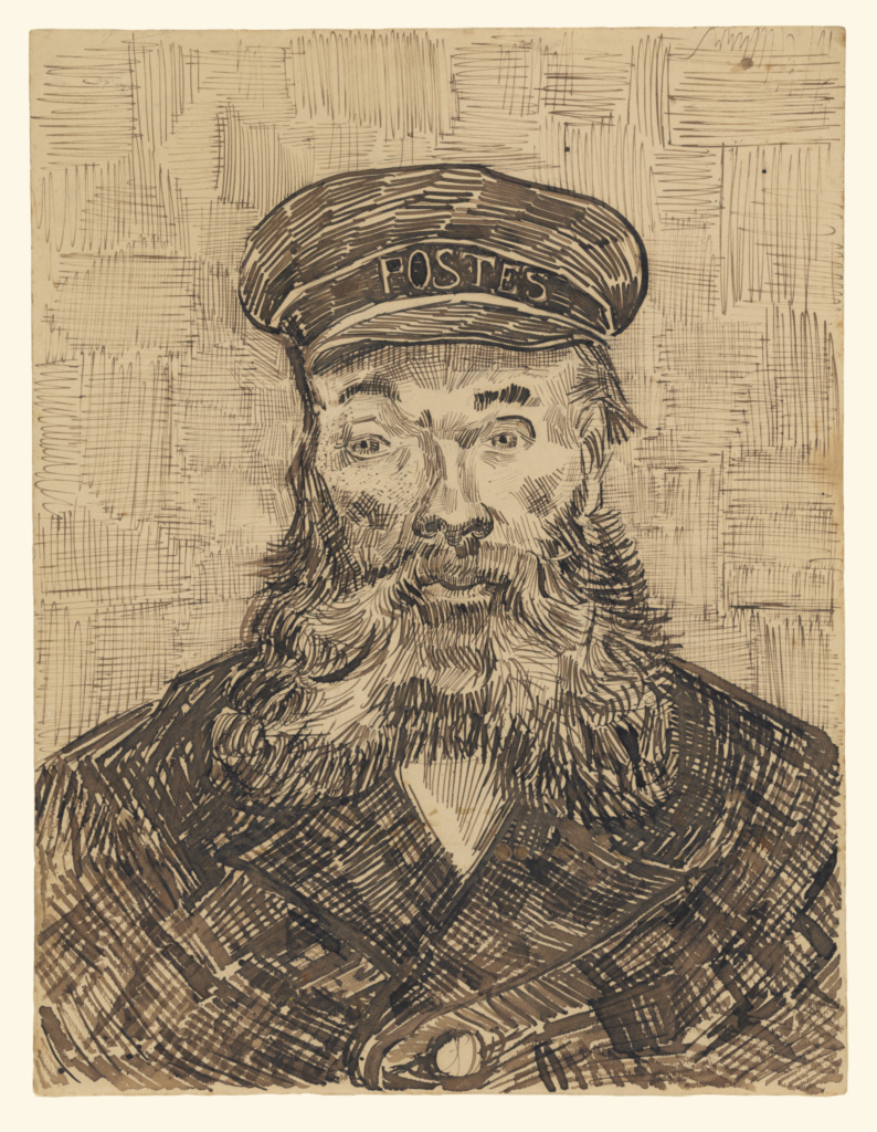 Portrait of Joseph Roulin; Vincent van Gogh (Dutch, 1853 - 1890); 1888; Reed and quill pen and brown ink, over black chalk; 32.1 × 24.4 cm (12 5/8 × 9 5/8 in.); 85.GA.299; The J. Paul Getty Museum, Los Angeles; Rights Statement: No Copyright - United States
