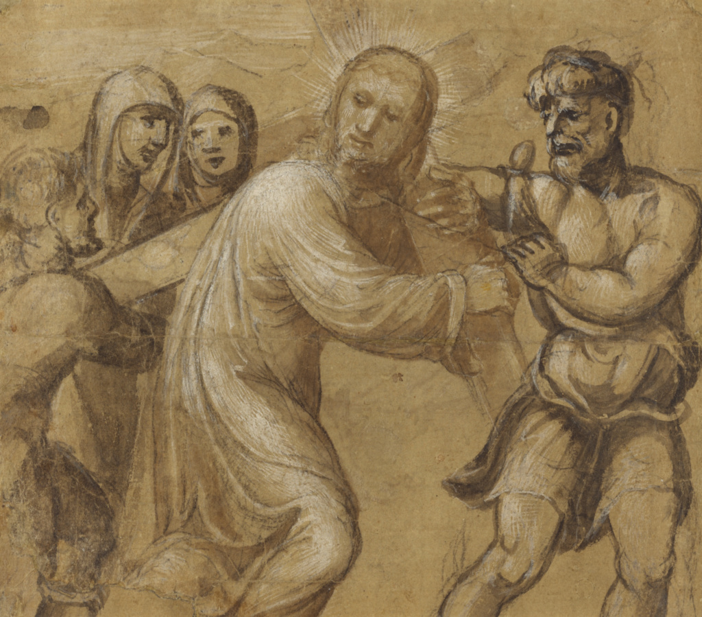 Christ Carrying the Cross (recto); The Resurrection (verso); Sodoma (Giovanni Antonio Bazzi) (Italian, 1477 - 1549); Italy; about 1535; Pen and brown ink, brush with brown wash, heightened with white gouache, over black chalk (recto); brush and brown ink and white gouache heightening (verso) on brownish paper; 18.7 × 21.4 cm (7 3/8 × 8 7/16 in.); 86.GA.2; The J. Paul Getty Museum, Los Angeles; Rights Statement: No Copyright - United States