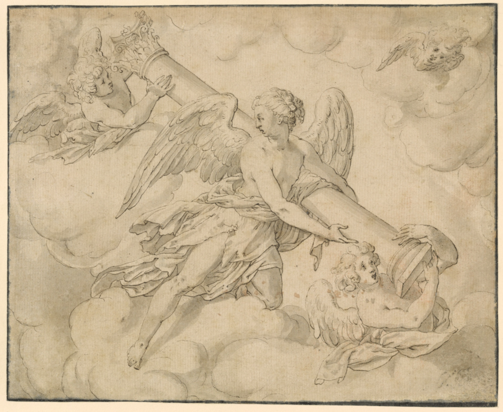 Angels Bearing the Column of the Passion; Friedrich Sustris (Dutch, about 1540 - 1599); Holland; about 1580–1590; Pen and dark brown ink and gray wash; 16.7 × 20.6 cm (6 9/16 × 8 1/8 in.); 86.GA.8; The J. Paul Getty Museum, Los Angeles; Rights Statement: No Copyright - United States