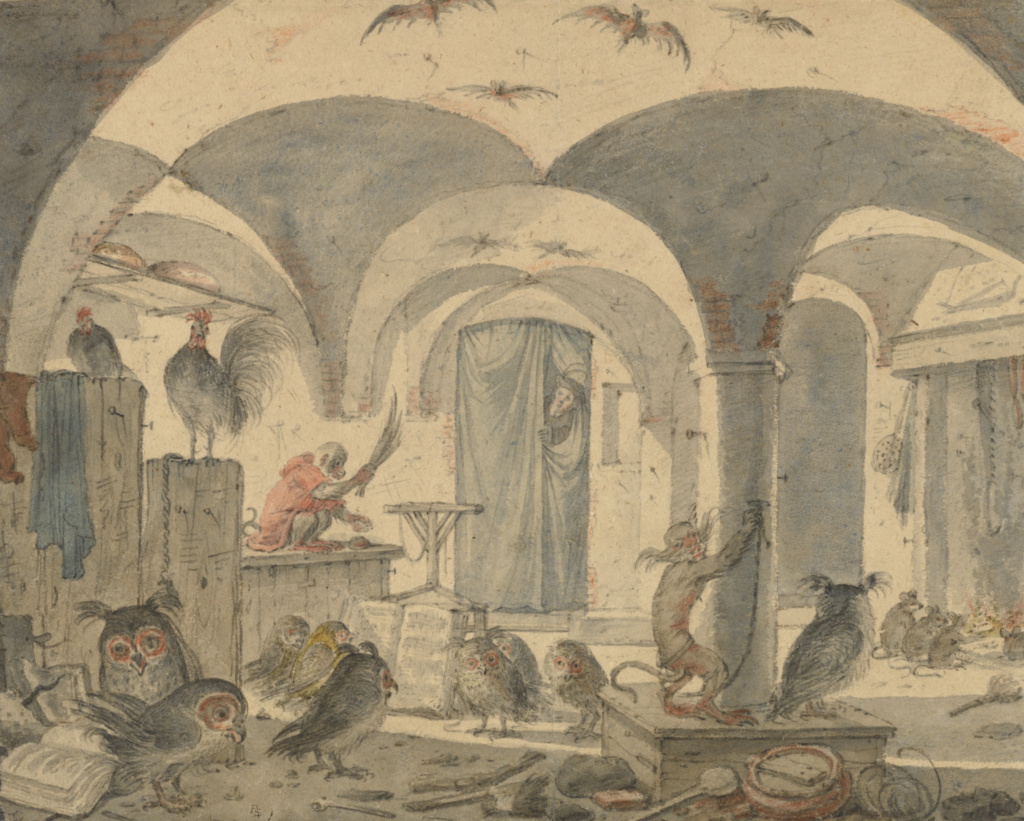 An Enchanted Cellar with Animals; Cornelis Saftleven (Dutch, 1607 - 1681); about 1655–1670; Black and red chalk, brush with gray and brown wash, and watercolor; 25.7 × 32.1 cm (10 1/8 × 12 5/8 in.); 86.GG.17; The J. Paul Getty Museum, Los Angeles; Rights Statement: No Copyright - United States