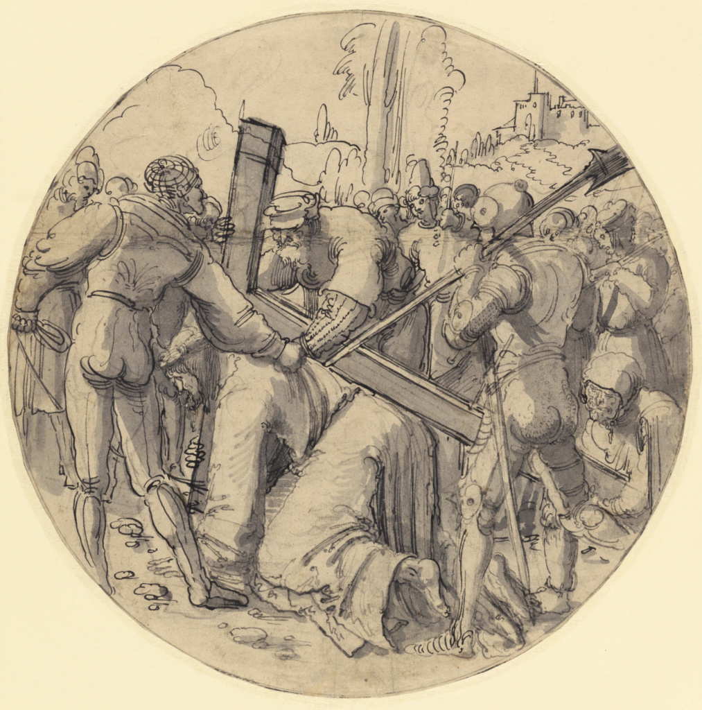 Christ Carrying the Cross; Albrecht Altdorfer (German, about 1480 - 1538); about 1513; Pen and black ink and gray wash over black chalk; 30.3 cm (11 15/16 in.); 86.GG.465; The J. Paul Getty Museum, Los Angeles; Rights Statement: No Copyright - United States