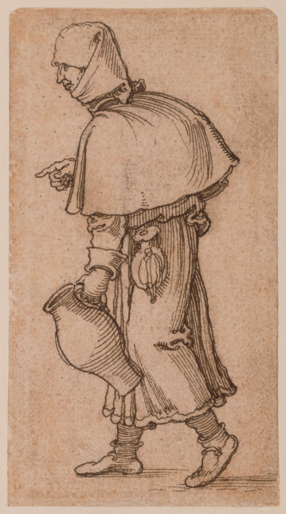 A Peasant Woman Carrying a Jug; Sebald Beham (German, 1500 - 1550); Germany; about 1520; Pen and brown ink over black chalk; 10.6 × 5.9 cm (4 3/16 × 2 5/16 in.); 86.GG.478; The J. Paul Getty Museum, Los Angeles; Rights Statement: No Copyright - United States