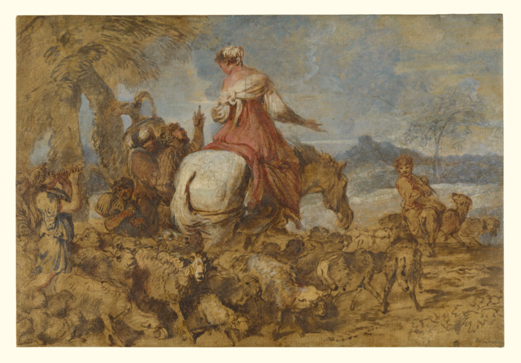 Pastoral Journey; Giovanni Benedetto Castiglione (Italian, 1609 - 1664); about 1650; Brush and brown oil paint and touches of white, blue and rose gouache; 28.1 × 41.3 cm (11 1/16 × 16 1/4 in.); 86.GG.573; The J. Paul Getty Museum, Los Angeles; Rights Statement: No Copyright - United States