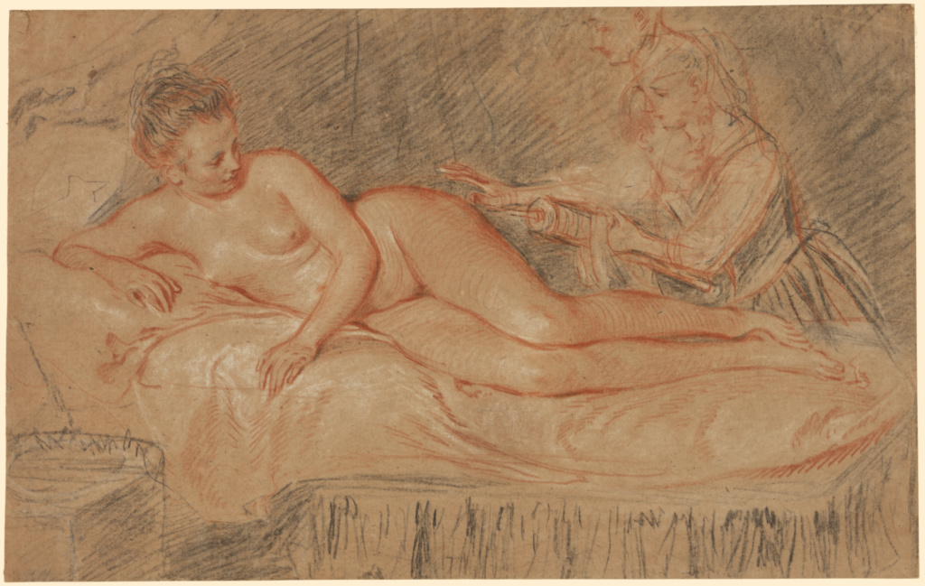 The Remedy; Jean-Antoine Watteau (French, 1684 - 1721); about 1716–1717; Red, black, and white chalk; 23.3 × 37.1 cm (9 3/16 × 14 5/8 in.); 86.GB.594; Rights Statement: No Copyright - United States