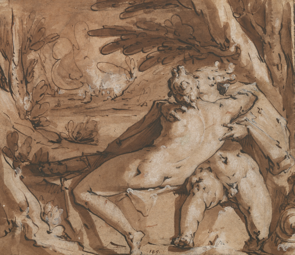 Embracing Couple (Mercury and Lara?); Jan Harmensz. Muller (Dutch, 1571 - 1628); 1588–about 1594; Black chalk, pen and brown ink, brush with brown wash, heightened with white gouache, on light brown paper; 18.7 × 21.7 cm (7 3/8 × 8 9/16 in.); 86.GG.595; The J. Paul Getty Museum, Los Angeles; Rights Statement: No Copyright - United States