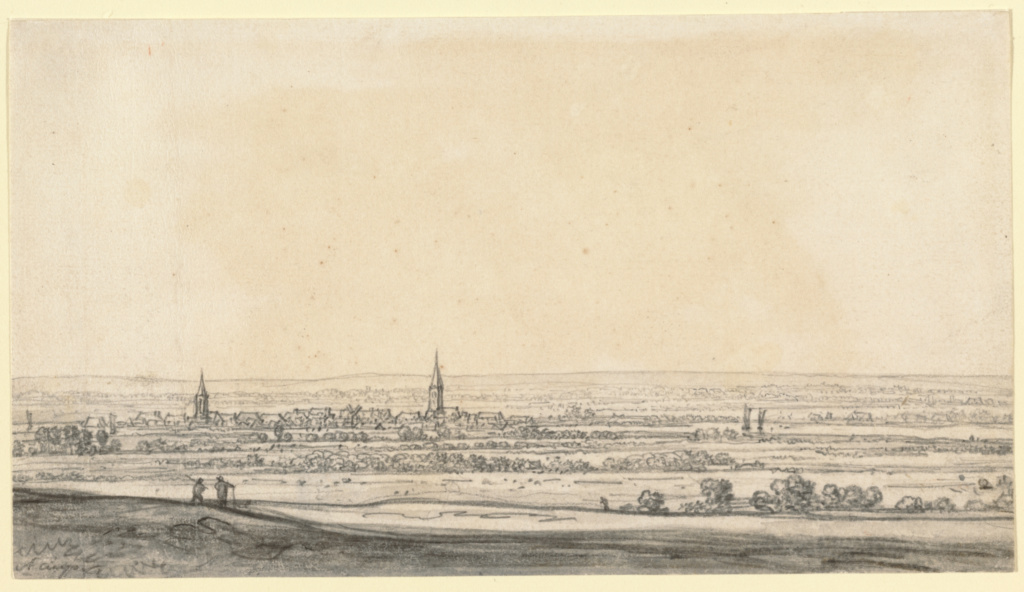 View of the Rhine River Valley (recto); View of the Heideberger Mill Near Cleves (verso); Aelbert Cuyp (Dutch, 1620 - 1691); about 1651–1652; Black chalk, graphite, gray wash (recto); black chalk and graphite (verso); 13.2 × 23.7 cm (5 3/16 × 9 5/16 in.); 86.GG.673; The J. Paul Getty Museum, Los Angeles; Rights Statement: No Copyright - United States