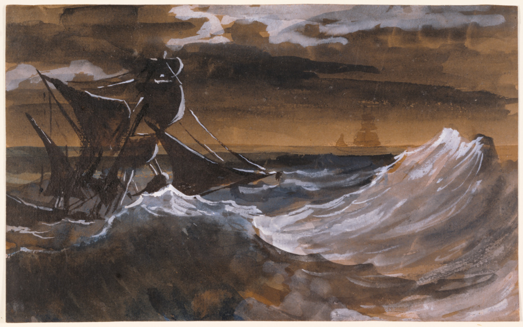 Sailboat on a Raging Sea; Théodore Géricault (French, 1791 - 1824); about 1818–1819; Brush and brown wash, blue watercolor, opaque watercolor, over black chalk on brown laid paper; 15.2 × 24.7 cm (6 × 9 3/4 in.); 86.GG.679; Rights Statement: No Copyright - United States