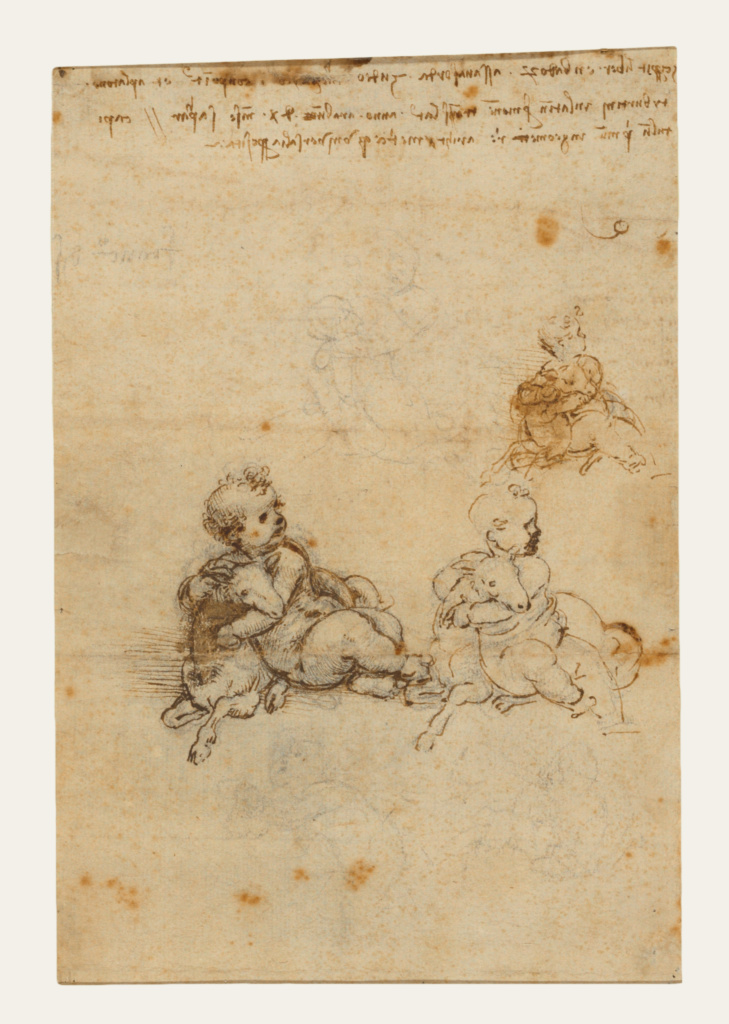Studies for the Christ Child with a Lamb (recto); Head of an Old Man, and Studies of Machinery (verso); Leonardo da Vinci (Italian, 1452 - 1519); Italy; about 1503–1506; Black chalk, pen and brown ink; 21 × 14.1 cm (8 1/4 × 5 9/16 in.); 86.GG.725; The J. Paul Getty Museum, Los Angeles; Rights Statement: No Copyright - United States