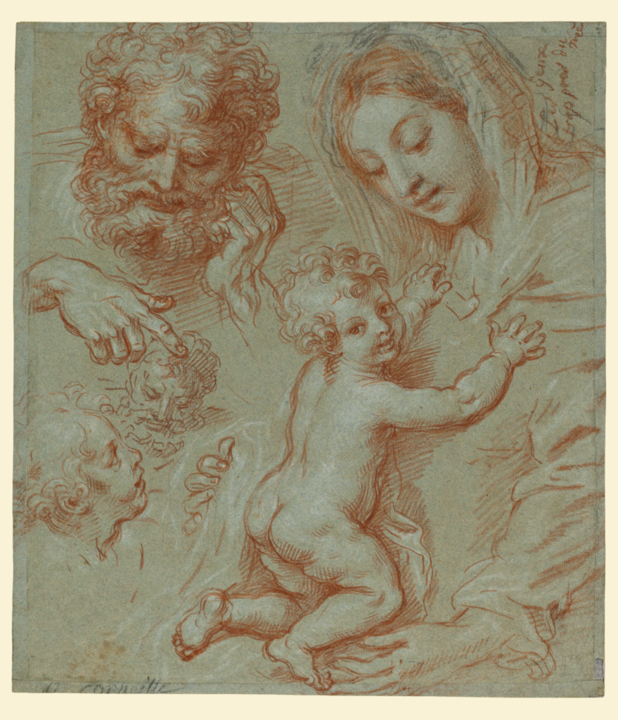 Studies of the Madonna and Child and of Heads (recto); Madonna and Child with Saint John Seated in a Landscape (verso); Michel Corneille the Younger (French, 1641 - 1708); France; about 1670–1690; Red, black, and white chalk (recto); Pen and brown ink and brown wash over black chalk (verso) on blue paper; 31 × 27.3 cm (12 3/16 × 10 3/4 in.); 87.GG.1; The J. Paul Getty Museum, Los Angeles; Rights Statement: No Copyright - United States