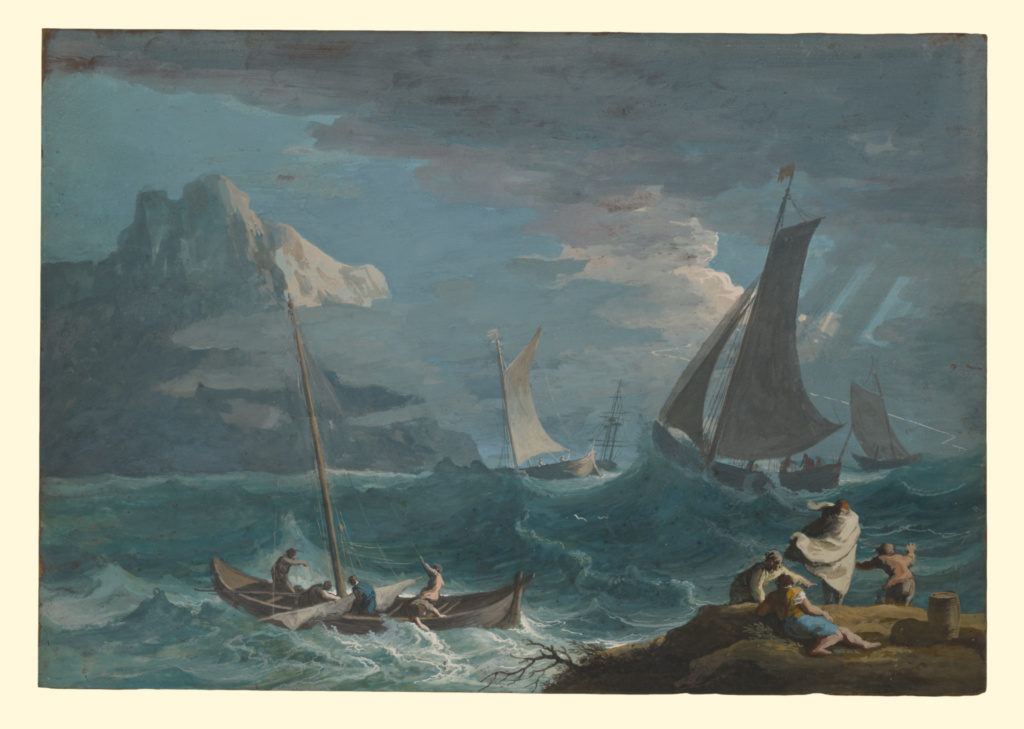Fishing Boats in a Storm; Marco Ricci (Italian, 1676 - 1730); about 1715; Gouache on tanned skin; 31.4 × 45.2 cm (12 3/8 × 17 13/16 in.); 87.GG.39; Rights Statement: No Copyright - United States