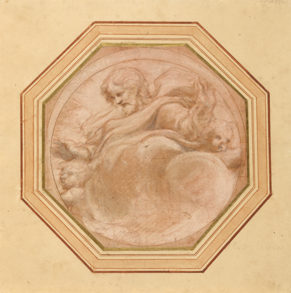 Christ in Glory; Correggio (Antonio Allegri) (Italian, about 1489 - 1534); Italy; 1520–1523; Red chalk and brown and gray wash, heightened with white bodycolor on pink ground; inscribed circle in brown ink; squared in red chalk; 14.6 × 14.6 cm (5 3/4 × 5 3/4 in.); 87.GB.90; The J. Paul Getty Museum, Los Angeles; Rights Statement: No Copyright - United States