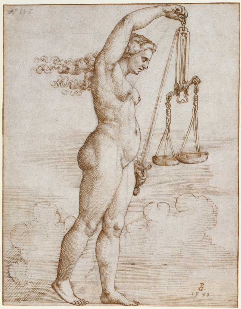Allegory of Justice; Georg Pencz (German, 1484/1485 - 1545); Germany; 1533; Pen and brown ink over black chalk; 19.2 × 14.9 cm (7 9/16 × 5 7/8 in.); 87.GA.103; The J. Paul Getty Museum, Los Angeles; Rights Statement: No Copyright - United States