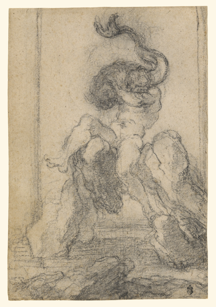 A Marine God with a Dolphin; Gian Lorenzo Bernini (Italian, 1598 - 1680); Italy; 1652–1653; Black chalk; 34.8 × 23.8 cm (13 11/16 × 9 3/8 in.); 87.GB.142; The J. Paul Getty Museum, Los Angeles; Rights Statement: No Copyright - United States