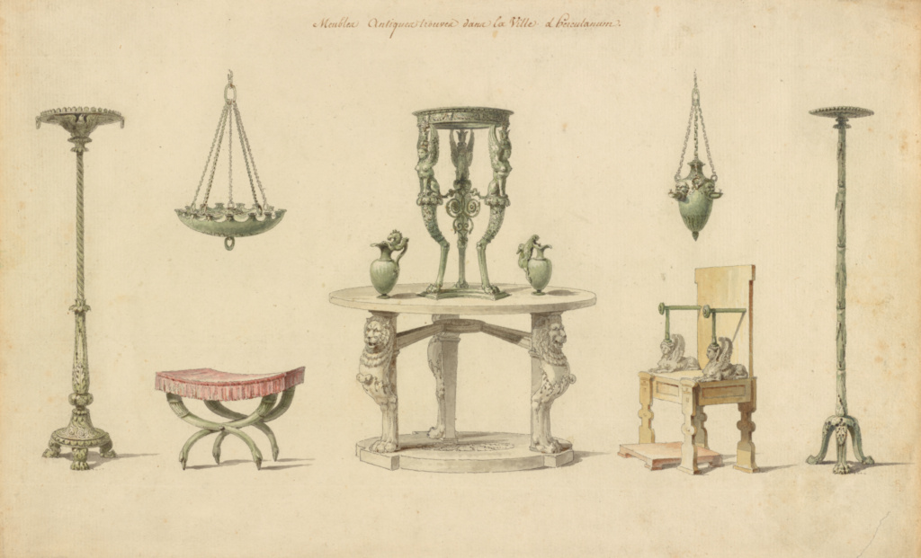 Vases, Furniture and Objects Discovered at Herculaneum; Pierre-Adrien Pâris (French, 1745 - 1819); 1777; Pen and black ink, watercolor; 22.9 × 37 cm (9 × 14 9/16 in.); 88.GA.26; Rights Statement: No Copyright - United States