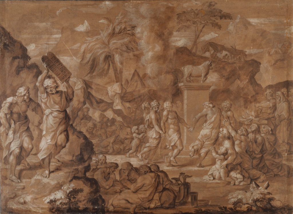 The Israelites Dancing around the Golden Calf; Sébastien Bourdon (French, 1616 - 1671); France; about 1645; Pen and brown ink, brown and white oil paint; 47.6 × 64.9 cm (18 3/4 × 25 9/16 in.); 88.GG.39; The J. Paul Getty Museum, Los Angeles; Rights Statement: No Copyright - United States