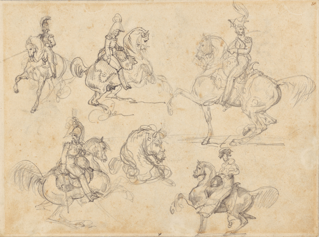 Horses and Riders (recto); Horses (verso); Théodore Géricault (French, 1791 - 1824); France; 1813–1814; Graphite; 21 × 27.9 cm (8 1/4 × 11 in.); 88.GD.46; The J. Paul Getty Museum, Los Angeles; Rights Statement: No Copyright - United States