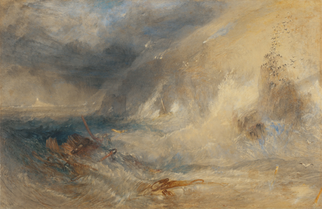 Long Ship's Lighthouse, Land's End; Joseph Mallord William Turner (British, 1775 - 1851); Great Britain; about 1834–1835; Watercolor and gouache, scraped by the artist; 28.6 × 44 cm (11 1/4 × 17 5/16 in.); 88.GC.55; The J. Paul Getty Museum, Los Angeles; Rights Statement: No Copyright - United States