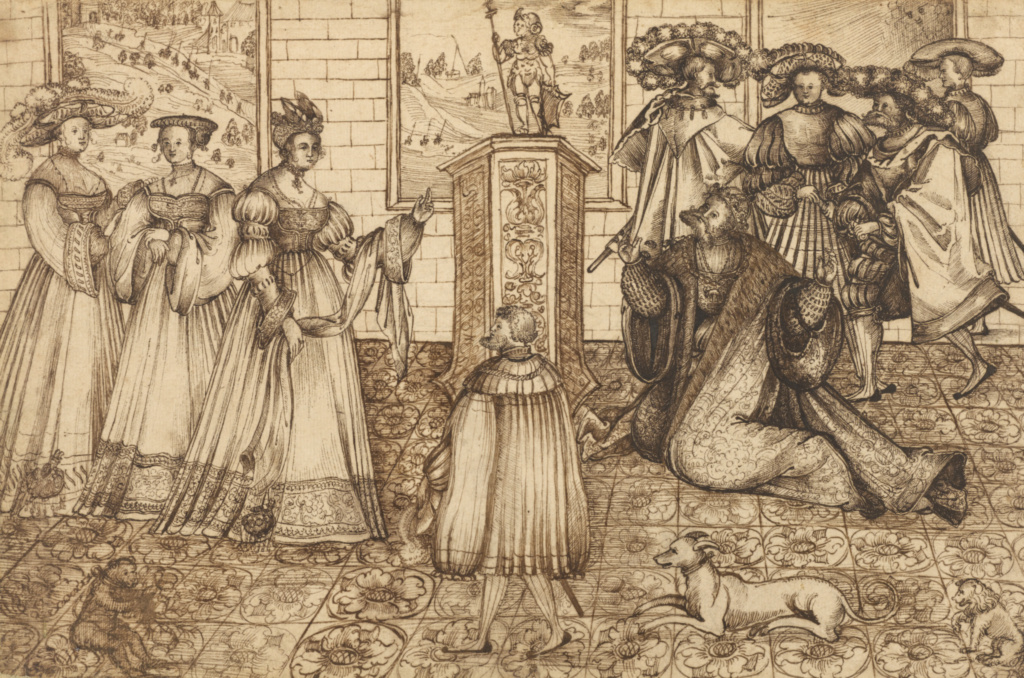 The Idolatry of Solomon; Monogrammist AS (German, active 1530); about 1530; Pen and dark brown ink; 21.3 × 32.5 cm (8 3/8 × 12 13/16 in.); 89.GA.10; Rights Statement: No Copyright - United States